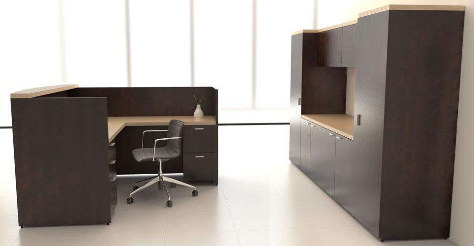 L Shape Reception Workstation with Storage Cabinets